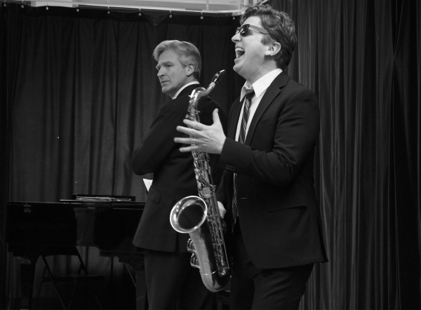 <p>Tom Galantich and Duke Lafoon (with sax) play the double personalities of President William Jefferson Clinton.</p><br />(© David Gordon)