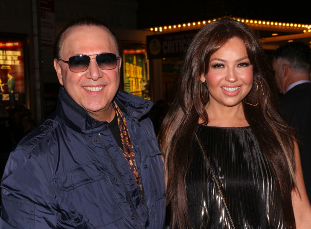 <p>Tommy Mottola and Thalía are happy to be on hand for the show.</p><br />(© David Gordon)