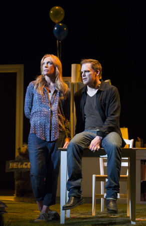 <p>Toni Collette (Jennifer Jones) and Michael C. Hall (John Jones) are deep in conversation.</p><br />(© Joan Marcus)