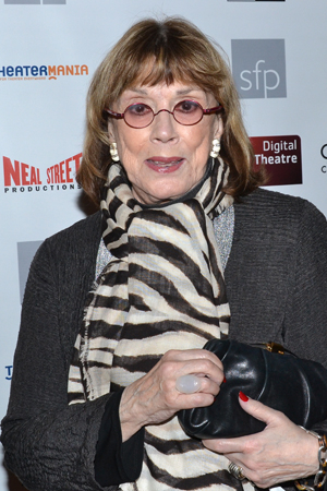 <p>Tony Award winner Phyllis Newman poses for photos on her way into the screening.</p><br />(© David Gordon)