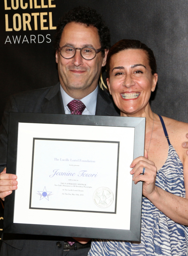 <p>Tony Kushner presents Jeanine Tesori with the induction into the Playwrights&#39&#x3B; Sidewalk at the Lucille Lortel Theatre.</p><br />(© David Gordon)