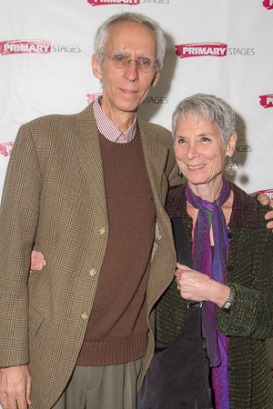 <p>Tony-nominated playwright David Ives poses with his wife.</p><br />(© Seth Walters)