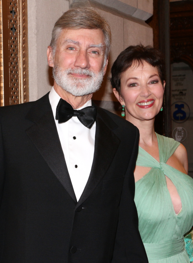 <p>Tony nominee David Garrison (posing with his lovely wife) returns to Braodway as Mayor Peter Dummermut.</p><br />(© David Gordon)