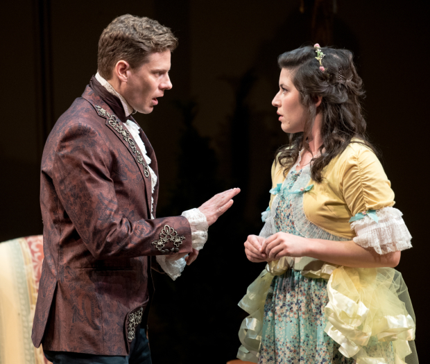 <p>Tony Roach and Justine Salata play forbidden lovers in <em>She Stoops to Conquer</em>.</p><br />© Marielle Solan