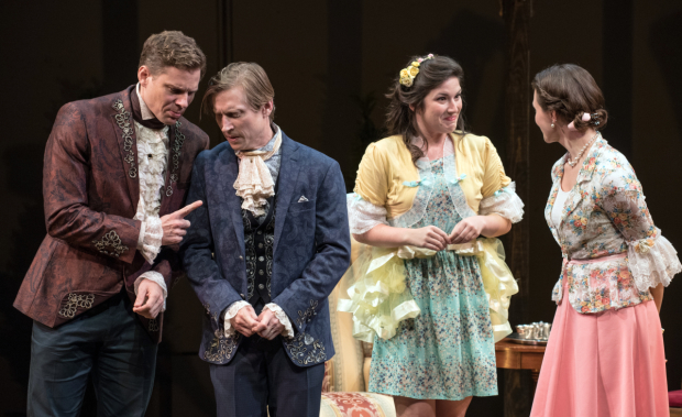 <p>Tony Roach, Jeremy Beck, Justine Salata, and Mairin Lee have love on their minds in <em>She Stoops to Conquer</em>.</p><br />© Marielle Solan