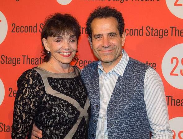 <p>Tony Shalhoub and his wife, Brooke Adams, are ready to party with their theater friends.</p><br />(© Seth Walters)