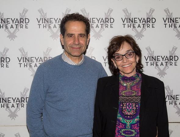 <p>Tony Shalhoub and wife Brooke Adams are excited to see <em>Too Much Sun</em>.</p><br />(© Seth Walters)