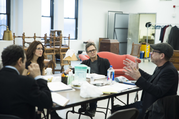 <p>Tony Shalhoub, Jessica Hecht,  and Mark Ruffalo listen intently to director Terry Kinney (right) in rehearsals for <em>The Price</em>.</p>