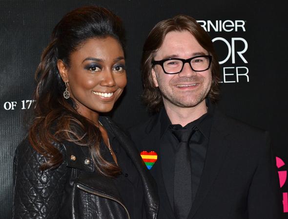 <p>Tony winner Patina Miller and fiancé David Mars are all smiles before the show. </p><br />(© David Gordon)