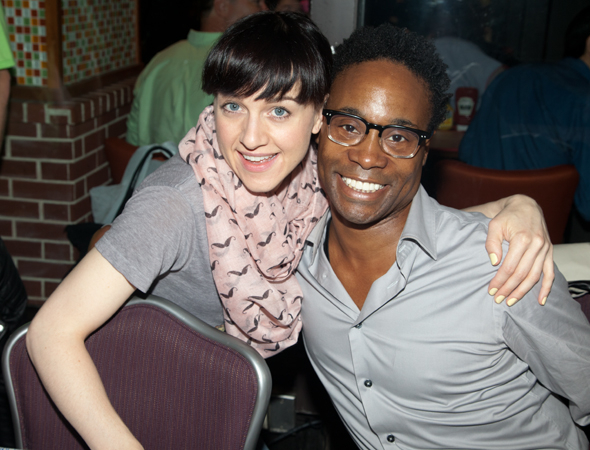 <p>Tony winners and former <em>Kinky Boots</em> costars Lena Hall and Billy Porter catch up at the autograph table.</p><br />(© Seth Walters)