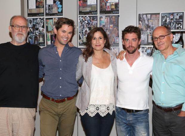 <p>Tony-winning <em>Falsettos</em> scribes William Finn and James Lapine join stars Andrew Rannells, Stephanie J. Block, and Christian Borle for a photo.</p><br />(© David Gordon)