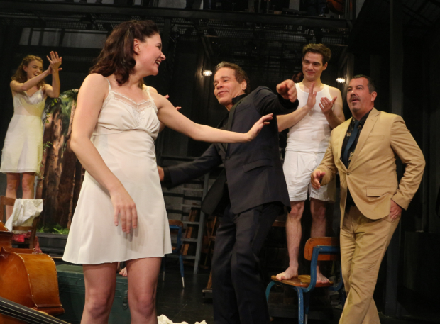 <p>Tony-winning <em>Spring Awakening</em> writers Steven Sater and Duncan Sheik come out for a special curtain call.</p><br />(© David Gordon)
