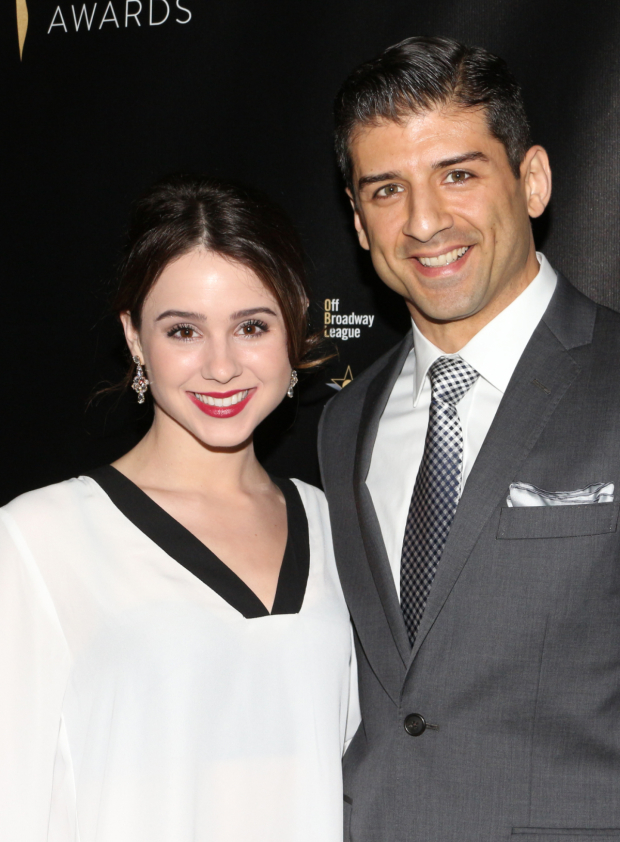 <p>Tony Yazbeck (seen here with his wife, Katie) presented a scene from nominated musical <em>Hamilton</em>.</p><br />(© David Gordon)