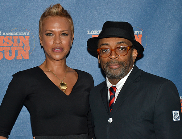 <p>Tonya and Spike Lee arrive to support their pal Denzel Washington.</p><br />(© David Gordon)