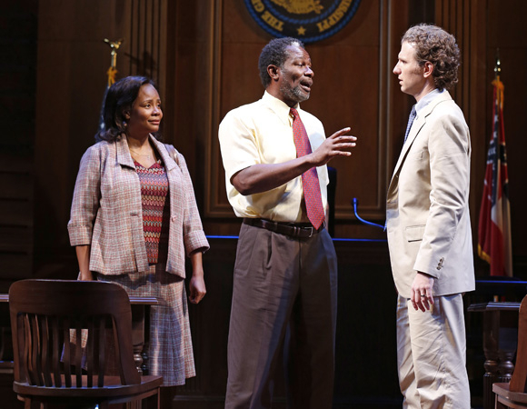 <p>Tonya Pinkins (Gwen Hailey), John Douglas Thompson, and Sebastian Arcelus in <em>A Time to Kill.</em></p><br />(© Carol Rosegg)