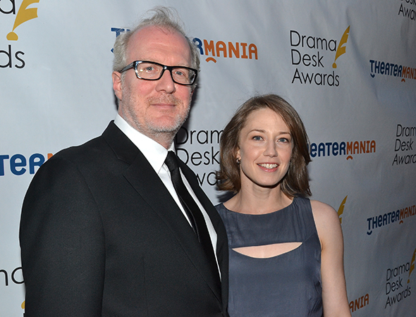 <p>Tracy Letts, a special award winner for <em>The Realistic Joneses</em>, with his wife, Carrie Coon.</p><br />(© David Gordon)