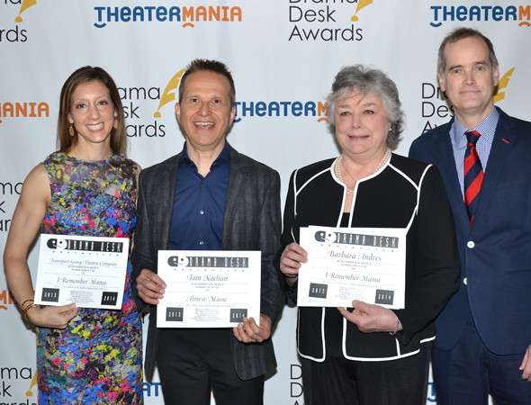 <p>Transport Group head honchos Lori Fineman (left) and Jack Cummings III (right), with their acting nominee Barbara Andres (<em>I Remember Mama</em>) and Outstanding Music in a play nominee Tom Kochan (<em>Almost, Maine</em>).</p><br />(© David Gordon)