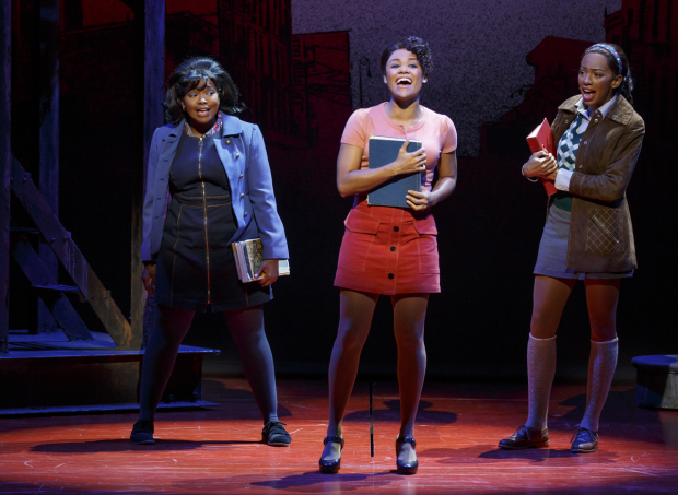 <p>Trista Dollison, Ariana DeBose, and Christiani Pitts sing the music of Alan Menken and Glen Slater.</p><br />(© Joan Marcus)
