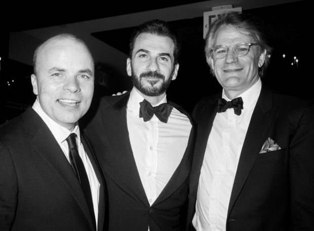 <p>Two <em>Oslo</em> Tony winners, playwright J.T. Rogers and actor Michael Aronov, hang out with their director, Bartlett Sher, at Lincoln Center Theater&#39&#x3B;s party at P.J. Clarke&#39&#x3B;s.</p><br />(© Monica Simoes)