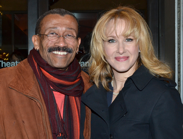 <p>Two-time Tony winner Katie Finneran (right) spends the evening with her pal, production designer Wynn Thomas.</p><br />(© David Gordon)