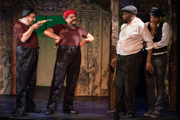 <p>Tyler Nye and Dominic Sellers as the Outlaws, with Jonathan Bethea and Alex Nicholson as Valentine and Speed in TP&amp&#x3B;co&#39&#x3B;s <em>The Two Gentlemen of Verona</em>.</p><br />(© Kelly Marsh)