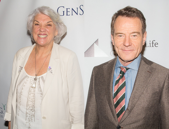 <p>Tyne Daly and Bryan Cranston, Distinguished Performance Award nominees for <em>Mothers and Sons</em> and <em>All the Way</em>, respectively.</p><br />(© Seth Walters)