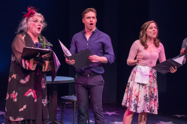 <p>Tyne Daly, Ryan Herdlicka, and Erika Henningsen sing from <em>Dear World</em>.</p><br />(© Ben Strothmann)