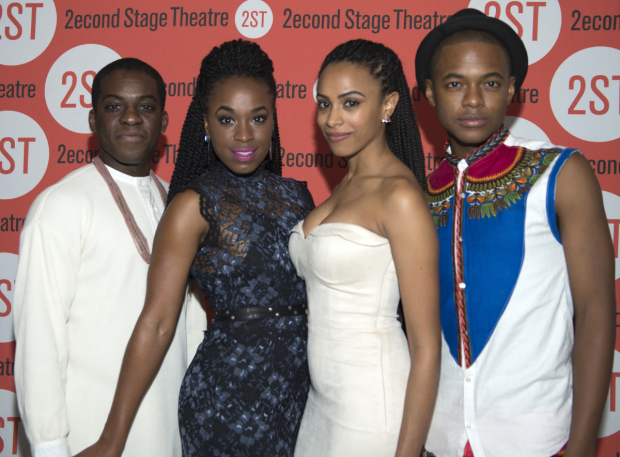 <p>Tyrone David Jr., Kristolyn Lloyd, Nicolette Robinson, and Jamar Williams take on principal roles in the new musical.</p><br />(© Allison Stock)