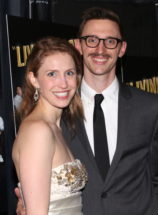 <p>Understudy Allison Layman poses for photos with her significant other, Teddy Yudain.</p><br />(© David Gordon)