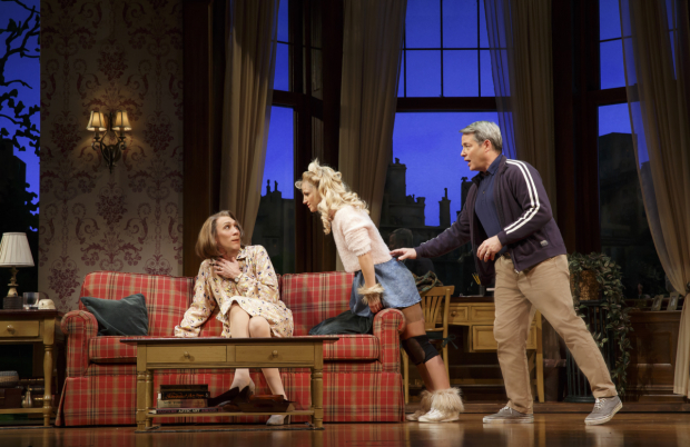 <p>Upper East Side doyenne Phyllis (Robert Sella) is startled by Sylvia (Annaleigh Ashford) as Greg (Matthew Broderick) looks on.</p><br />(© Joan Marcus)