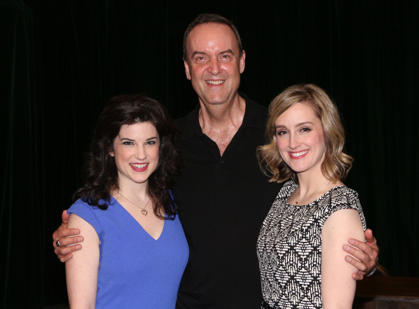 <p>Veronica J. Kuehn plays Monica Lewinsky, with Dale Hensley and Kara Guy in the ensemble.</p><br />(© David Gordon)