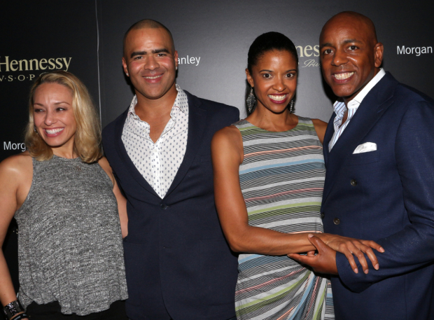<p>Veronica Jackson, Christopher Jackson, Renée Elise Goldsberry, and Alexis Johnson pose for a photo together.</p><br />(© David Gordon)