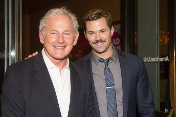 <p>Victor Garber brought his buddy Andrew Rannells to the premiere.</p><br />(© Seth Walters)