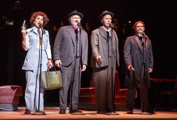 <p>Victoria Clark (Sara Jane Moore), John Ellison Conlee (Charles Guiteau), Shuler Hensley (Leon Czolgosz), and Steven Pasquale (John Wilkes Booth) play four of the show&#39&#x3B;s nine assassins.</p><br />(© Joan Marcus)
