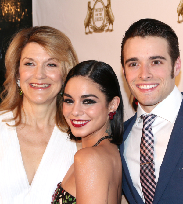 <p>Victoria Clark, Vanessa Hudgens, and Corey Cott work the red carpet together.</p><br />(© David Gordon)