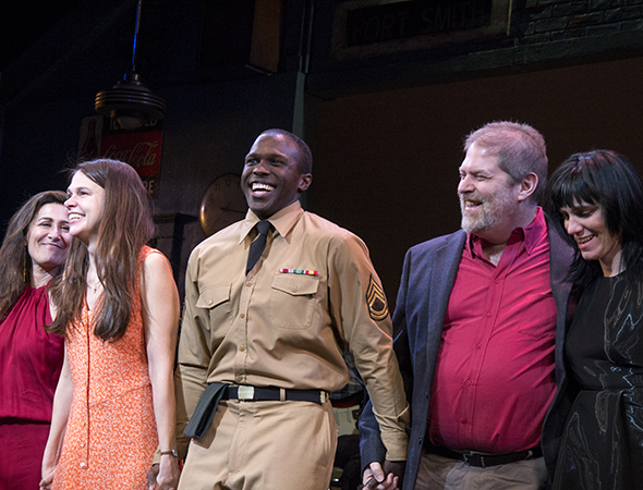 <p><em>Violet</em> creators Jeanine Tesori (left) and Brian Crawley (fourth from left), along with director Leigh Silverman (right), join Foster and Henry for a bow.</p><br />(© David Gordon)