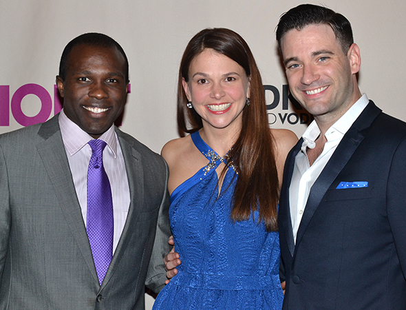 <p><em>Violet</em> star Sutton Foster and her leading men, Joshua Henry (left) and Colin Donnell (right).</p>