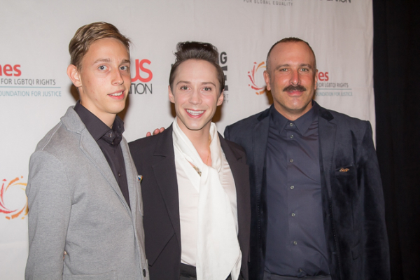 <p>Vladislav Slavskiy, Johnny Weir, and Noam Gonick premiered clips from their documentary <em>To Russia With Love</em>.</p><br />(© Seth Walters)