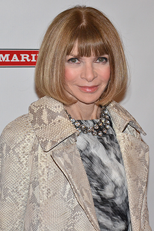 <p><em>Vogue</em> editor Anna Wintour shows off her sly smile.</p><br />(© David Gordon)