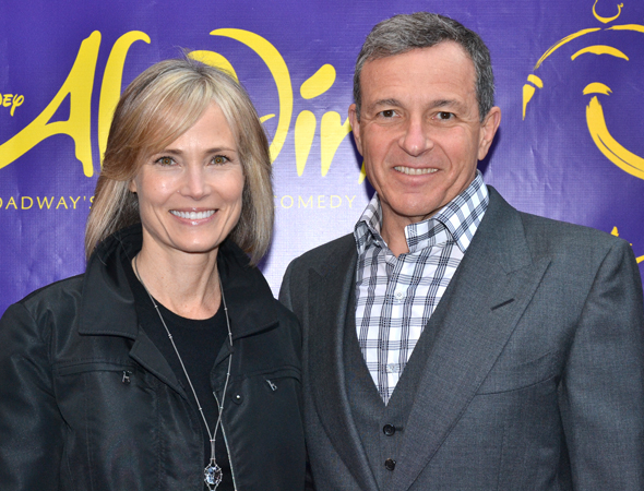 <p>Walt Disney Company CEO Bob Iger and his wife, Willow Bay, spend date night at the theater.</p><br />(© David Gordon)
