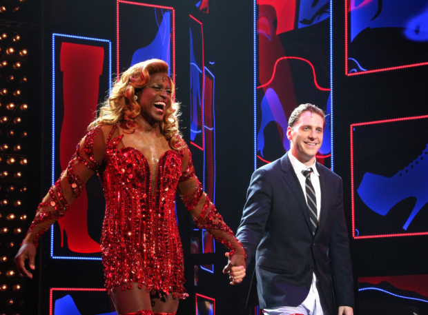<p>Wayne Brady and Andy Kelso walk onstage for their bow.</p><br />(© David Gordon)