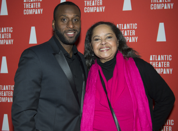 <p>Wendell B. Franklin and Lynda Gravatt celebrate their opening night in the Atlantic Theater Company production of <em>Skeleton Crew</em>.</p><br />(© Allison Stock)