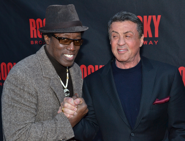 <p>Wesley Snipes celebrates the opening night with his pal Sly Stallone.</p><br />(© David Gordon)