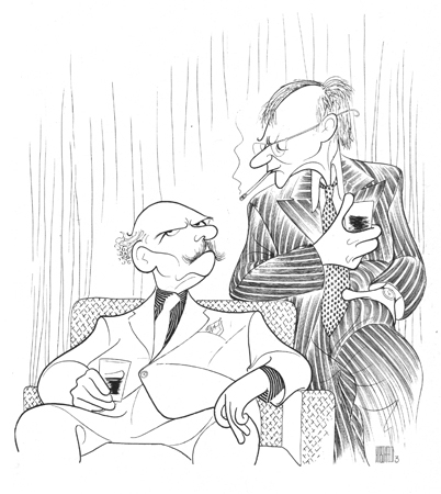 <p>What a field day Hirschfeld could have had with Patrick Stewart and Ian McKellen performing <em>No Man's Land</em> and <em>Waiting for Godot</em> in repertory. He drew both play's Broadway debuts in 1976 (seen here, with John Gielgud and Ralph Richardson) and 1956, respectively.</p><br />courtesy of the Al Hirschfeld Foundation