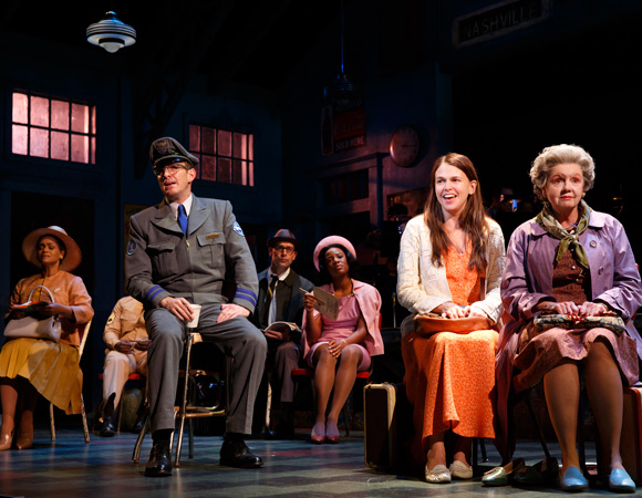 <p>When she gets older, Violet (Sutton Foster) goes on a cross-country bus trip to meet the Tulsa-based preacher.</p><br />(© Joan Marcus)