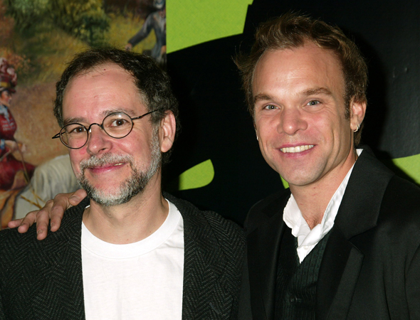<p><em>Wicked</em> novelist Gregory Maguire shares a photo with the musical's leading man, Norbert Leo Butz.</p><br />(© Joseph Marzullo)
