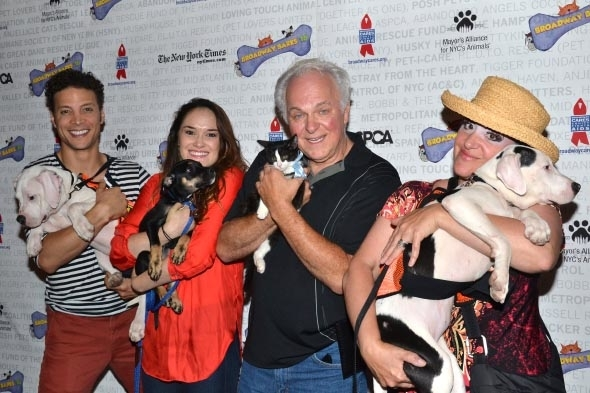 <p><em>Wicked</em> stars Justin Guarini, Christine Dwyer, P.J. Benjamin, and Mary Testa show off their four-legged companions.</p><br />(© David Gordon)