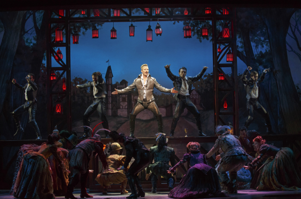 <p>Will Chase lets out his inner rock star as William Shakespeare.</p><br />(© Joan Marcus)