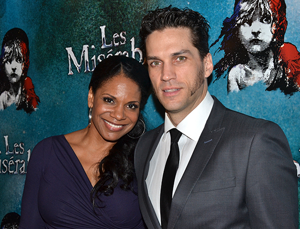 <p>Will Swenson gets congratulated by his Broadway-bound wife, Audra McDonald.</p><br />(© David Gordon)