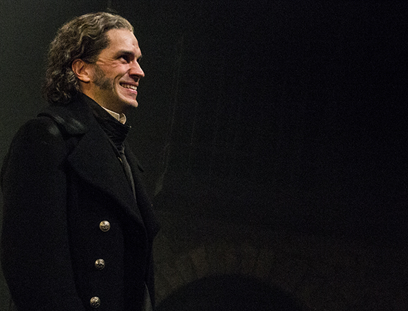 <p>Will Swenson (Javert) is pleased to finally open the show.</p><br />(© David Gordon)